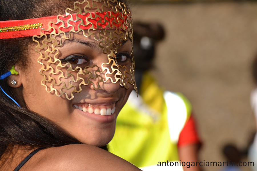 Smiling girl at Notting Hill Carnival