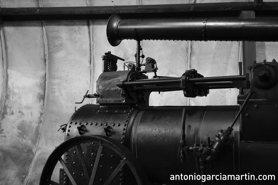 Old locomotive at Museo del Ferrocarril de Asturias, Gijón, Spain.