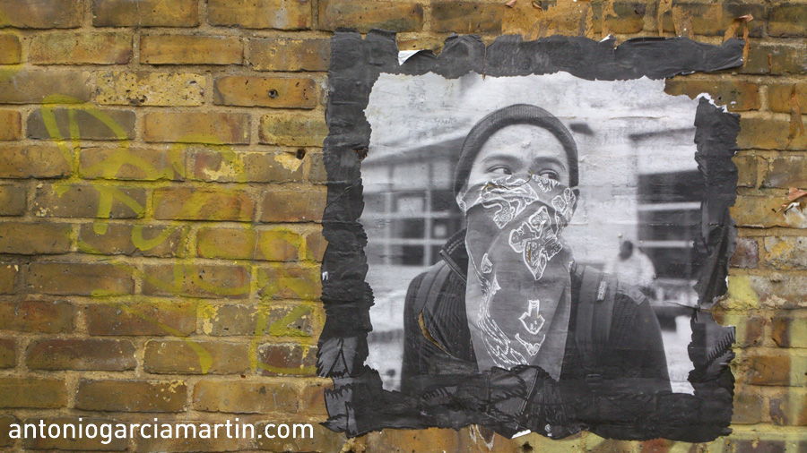 Hooded boy - Street art - London