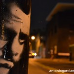 Face on a streetlight