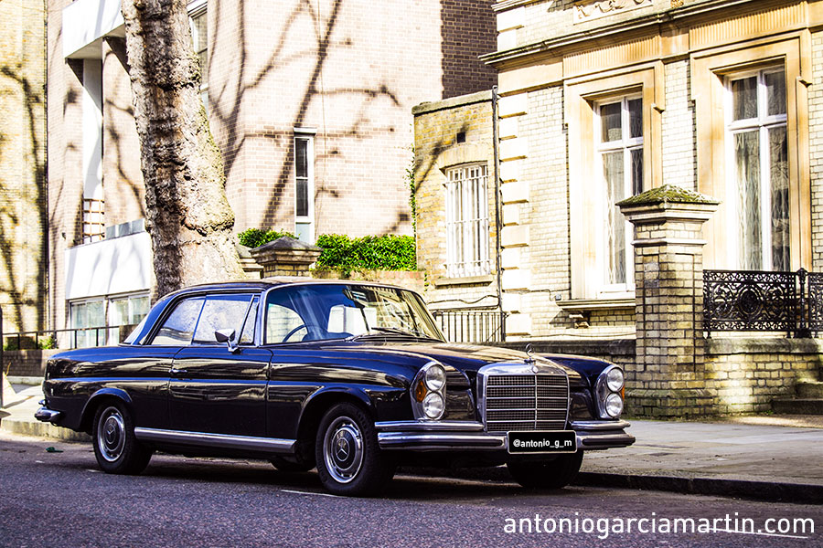 Old Mercedes sl parked at Holland Park