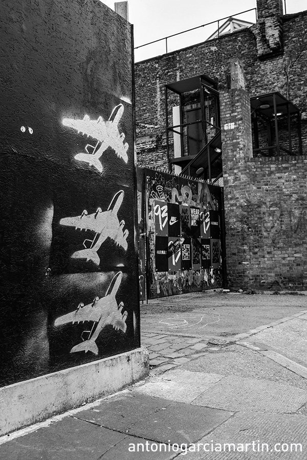Three planes taking off from Shoreditch