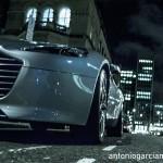 Aston Martin Vantage in the London streets at night
